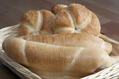 Arrangement of bread in basket Stock Photos