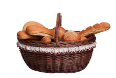 Arrangement of bread in basket Stock Image