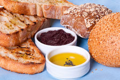 Arrangement of bread with sauces. Stock Photos