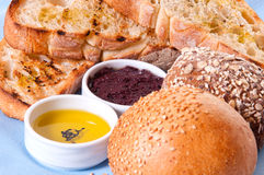 Arrangement of bread with sauces. Stock Photo