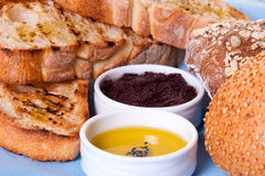 Arrangement of bread with sauces. Stock Photography