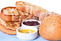 Arrangement of bread with sauces. Stock Image