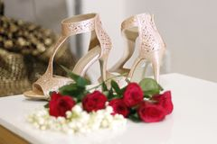 Bridal wedding flowers.Arrangement of bridal items before wedding,Indian wedding royalty free stock images