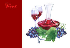 Arrangement with bunch of fresh grapes, corkscrews, decanter and glasses of red wine. Royalty Free Stock Image