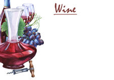 Arrangement with bunch of fresh grapes, corkscrews, decanter and glasses of red wine. Hand drawn watercolor painting on white background Royalty Free Stock Image