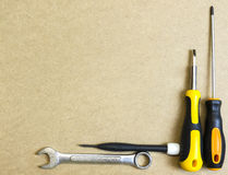 Arrangement of carpentry and set of hand tools. Frame composition with copy space top view Stock Photo