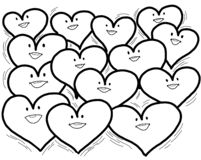Arrangement of Cheerful Happy Hearts. An arrangement of a group of cheerful and happy hearts as a symbol of togetherness, harmony, love and friendship stock illustration