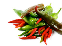 Arrangement of Chili Peppers Stock Images