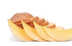 Arrangement of Chips and Chopped potato Royalty Free Stock Image