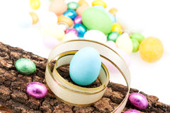 Arrangement With Chocolate Eggs Royalty Free Stock Photography