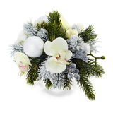 Arrangement of Christmas balls, orchids Stock Image