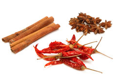 Arrangement of Cinnamon Sticks with Anise Stars, Chili Pepper is Stock Images