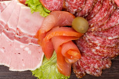 Arrangement of Cold Meats Royalty Free Stock Photography