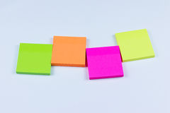 Arrangement of colored sticky notes Royalty Free Stock Photo