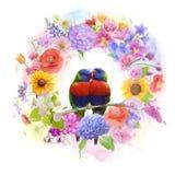 Arrangement of colorful flowers and parrots. Watercolor Stock Photos