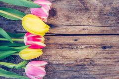 Arrangement of colorful tulips on a rustic wooden table, text space royalty free stock image