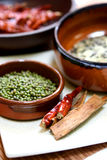 An arrangement of cooking ingredients. Dry chilis, wild rice, green bean and cinnamon sticks Royalty Free Stock Photography