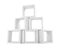 Arrangement of cubes. Showcase store. White background. 3D illustration Royalty Free Stock Images