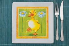 Arrangement cyan de table Image libre de droits