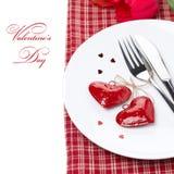 Arrangement de fête de table pour la Saint-Valentin,  Photographie stock libre de droits