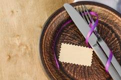 Arrangement de fête de Tableau avec l'Empty tag Photographie stock