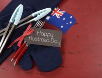 Arrangement de jour d'Australie, le 26 janvier, de rouge de thème, blanc et bleu de barbecue Photos stock