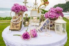 Arrangement de luxe de mariage sur la plage Image libre de droits