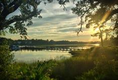 Arrangement de Sun sur le marais photo stock