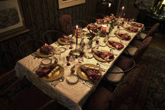 Arrangement de table de dîner de Noël, Ojai, la Californie, Etats-Unis Images libres de droits