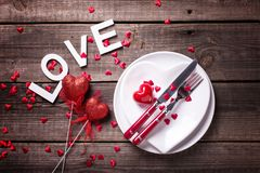 Arrangement de table de St Valentine Day photos libres de droits