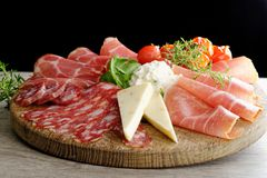 Arrangement of Delicatessen Cold Cuts Stock Images