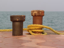 Arrangement at a dock to tie boats and ships Royalty Free Stock Photography