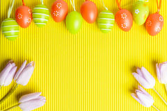 Arrangement of easter coloured eggs and tulips on yellow backgro Stock Photos