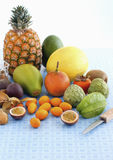 Arrangement of exotic fruits Stock Images
