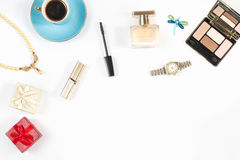 Arrangement of feminine objects and accessories on white background. Top view, copy space Stock Photos
