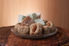 Arrangement of fig and turkish delight Stock Photos