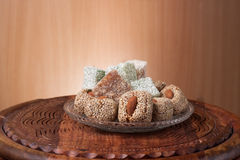 Arrangement of fig and turkish delight Royalty Free Stock Photos