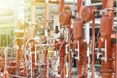 Arrangement of the fire protection system stock photo