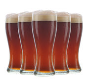 Arrangement of five beer glasses Stock Photo