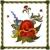Arrangement floral avec un cadre des feuilles Photographie stock libre de droits