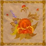 Arrangement floral avec un cadre des feuilles sur le fond Image stock