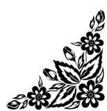 Arrangement floral noir et blanc abstrait sous forme d'angle de cadre Photo stock