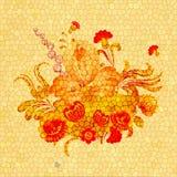 Arrangement floral sur un fond jaune avec des fissures Photo stock