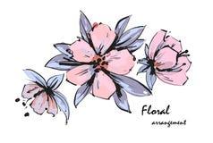 Arrangement floral tendre Fleurs roses de pommier Fleurs romantiques de jardin de vecteur illustration de vecteur