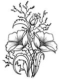 Arrangement of flowers black and white. Outline drawing Royalty Free Stock Photo