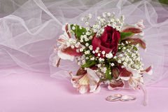 Arrangement with flowers and candy boxes Stock Photography