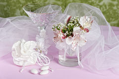 Arrangement with flowers and candy boxes Royalty Free Stock Photo