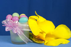 Arrangement with flowers and candy boxes Royalty Free Stock Photos
