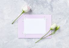 An arrangement of flowers and greeting card on gray stone background. Top view. Copy space.5 royalty free stock photography