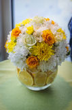 Arrangement of flowers in yellow and oranges Royalty Free Stock Image